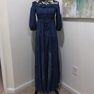 Reborn Blue Denim Off-Shoulder Dress